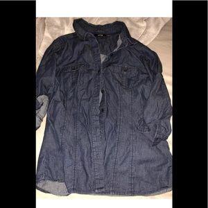 Women's apt 9 size small dark blue chambray shirt